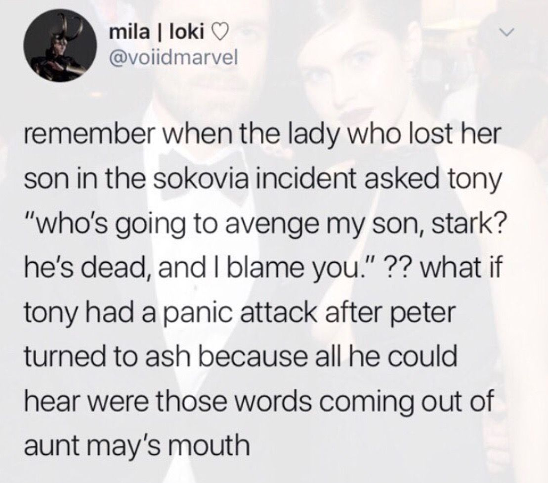 it hurts || side note: that woman who said all that to Tony