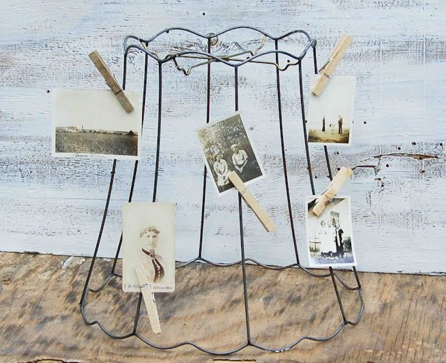 Find vintage or even new funky lamp shade frames and clip on your a vintage wire frame lampshade makes a great photo display greentooth Image collections