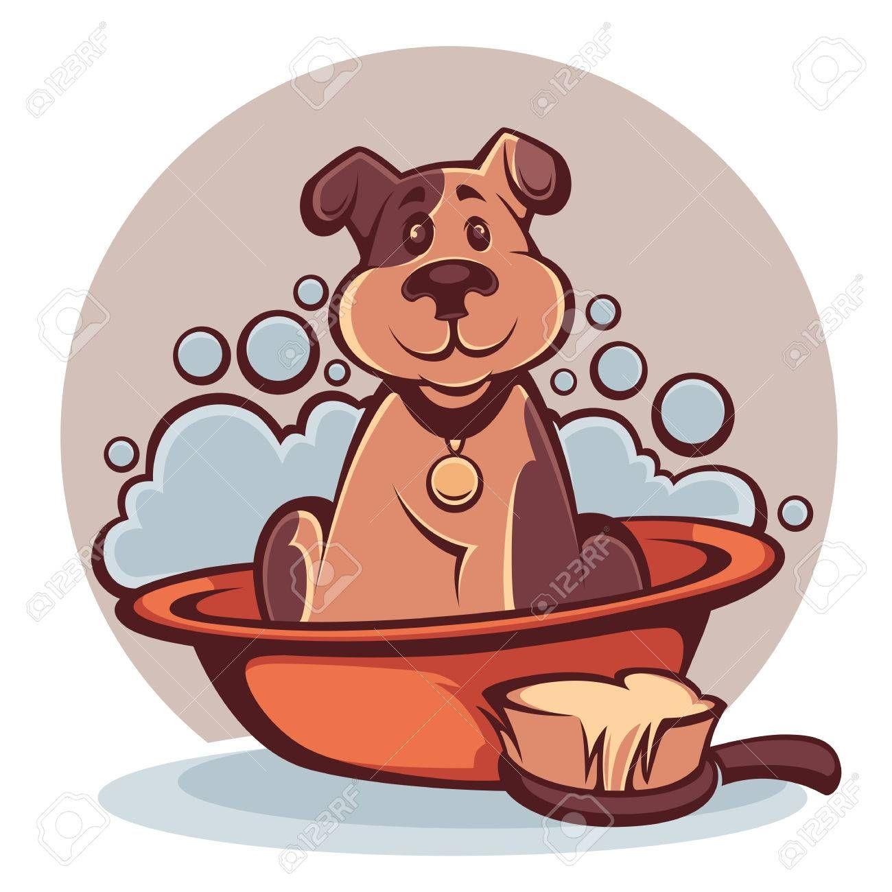 Wash Your Pet Funny Cartoon Dog Taking A Bath Aff Funny