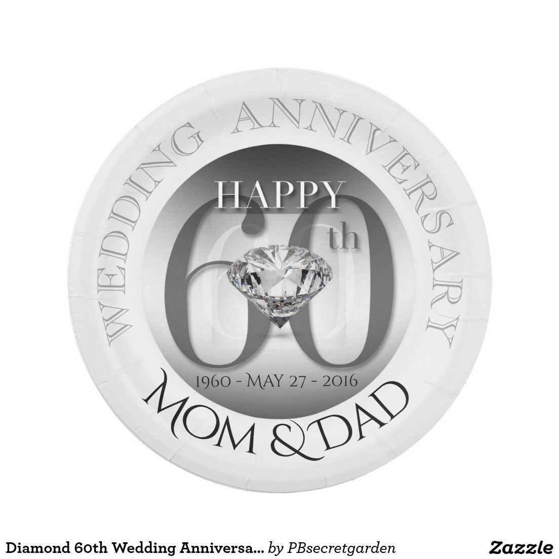 Diamond 60th Wedding Anniversary Paper plates  sc 1 st  Pinterest & Diamond 60th Wedding Anniversary Paper plates   Paper Wedding ...
