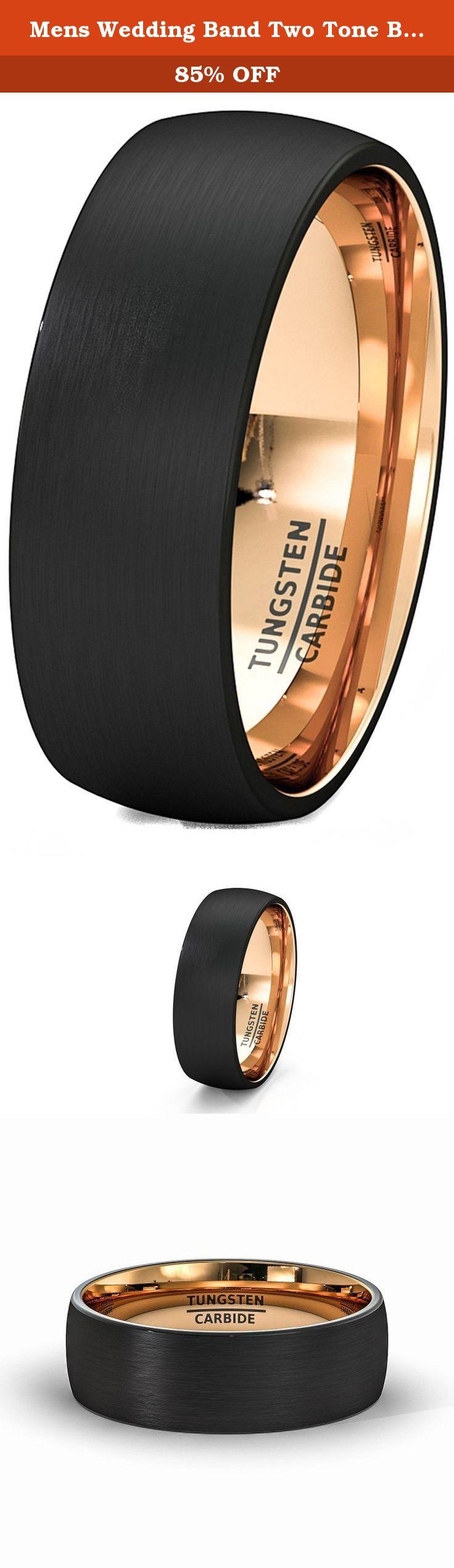 c0ddf597af9 Mens Wedding Band Two Tone Black Rose Gold Tungsten Ring Brushed Center  Dome 8mm Comfort Fit