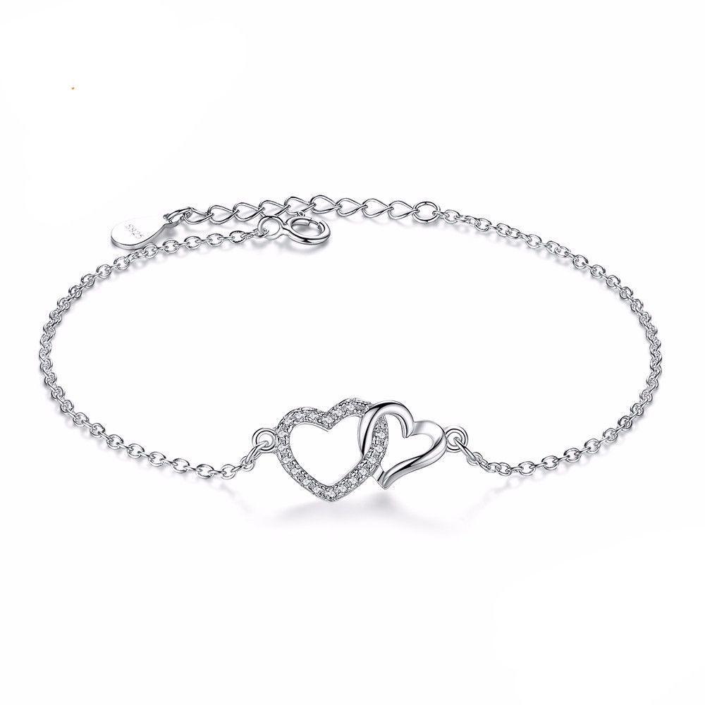 Sterling silver link chain bracelet forever interlocking love heart