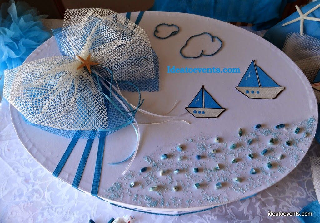 Christening decoration box little box. Ideatoevents.com Στολισμός κουτιού βάπτισης με θέμα το καραβάκι. Χειροποίητο ζωγραφική. Ideatoevents.com