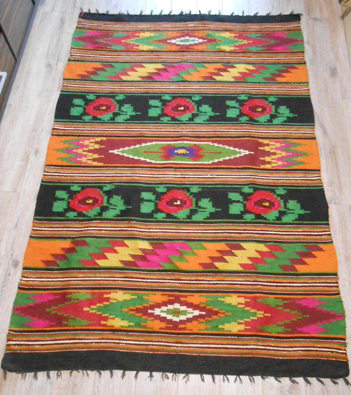 Vintage Traditional Hutsul Heavy Linen Kylym Kilim Carpet Rug