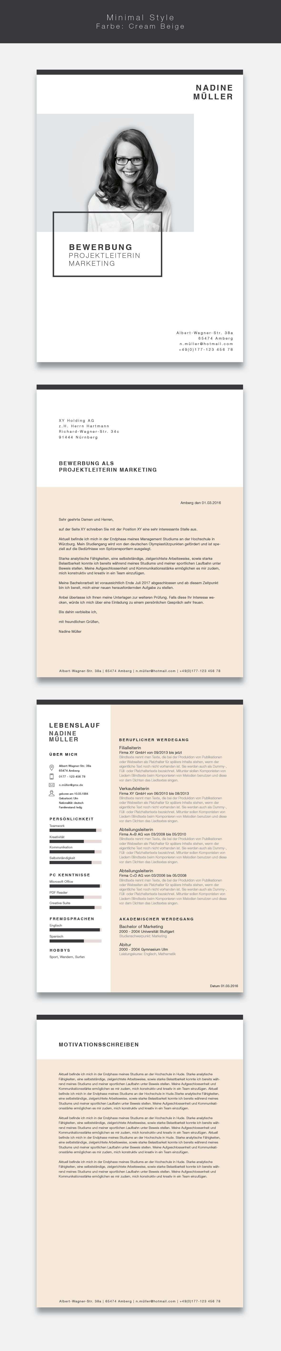unsere bewerbungsvorlage cvtemplate minimal style in der farbe cream beige minimalistisches design kombiniert m vorlagen fr deine bewerbung - Wie Ist Eine Bewerbung Aufgebaut