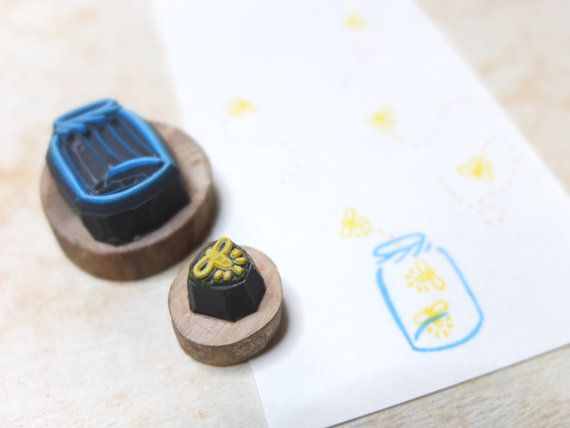 firefly and jar. Handcarved stamp set by HandCarvedStamps on Etsy