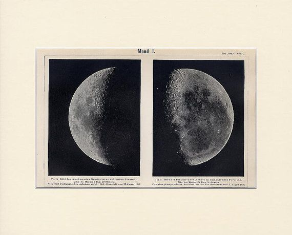 Antique Moon Print 1896  Celestial Lithograph.