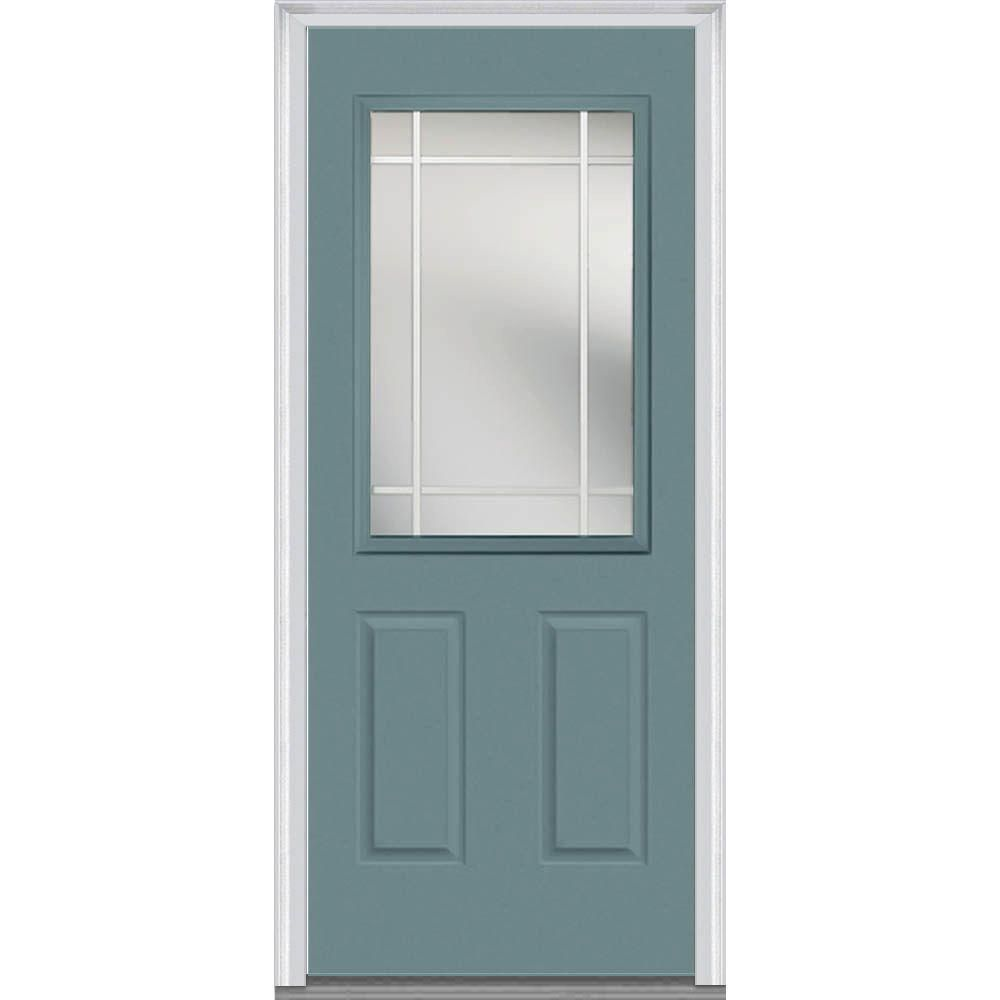 Mmi Door 36 In X 80 In Prairie Internal Muntins Right Hand Inswing 1 2 Lite Clear Painted Fiberglass Smooth Prehung Front Door Z012105r The Home Depot Mmi Door Steel Doors Exterior Painted Paneling