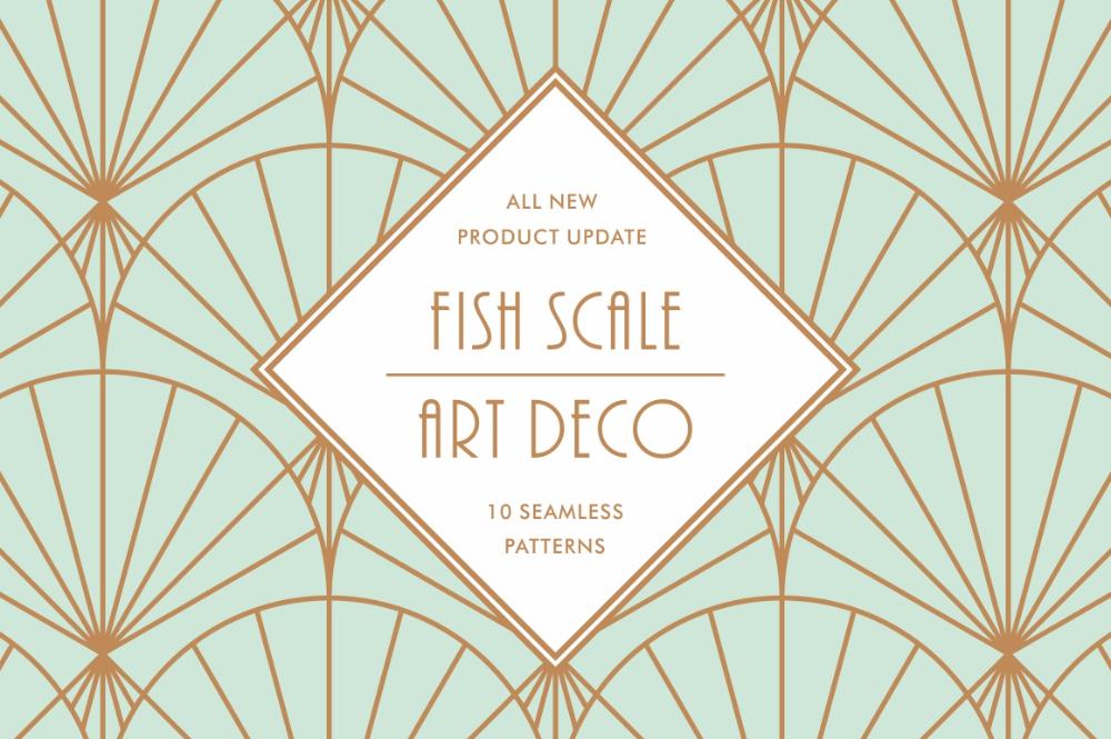 Fish Scale Art Deco Patterns - Design Cuts