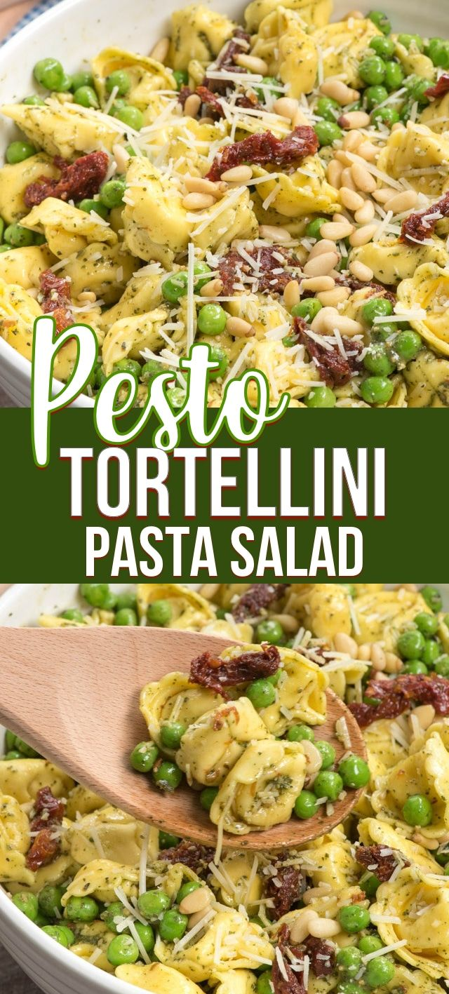 My favorite pasta salad is this PESTO Tortellini Pasta Salad! It's easy to make and the perfect summer side dish. With peas, pine nuts and sun-dried tomatoes it's everyones favorite pasta salad recipe.