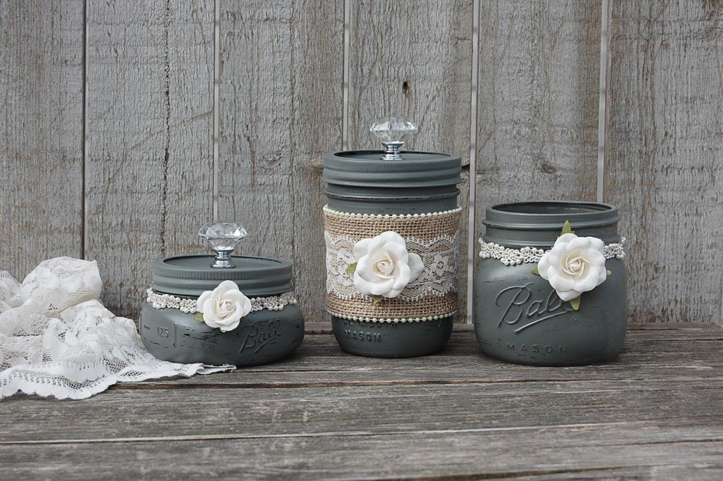 Photo of Grey dresser jar set