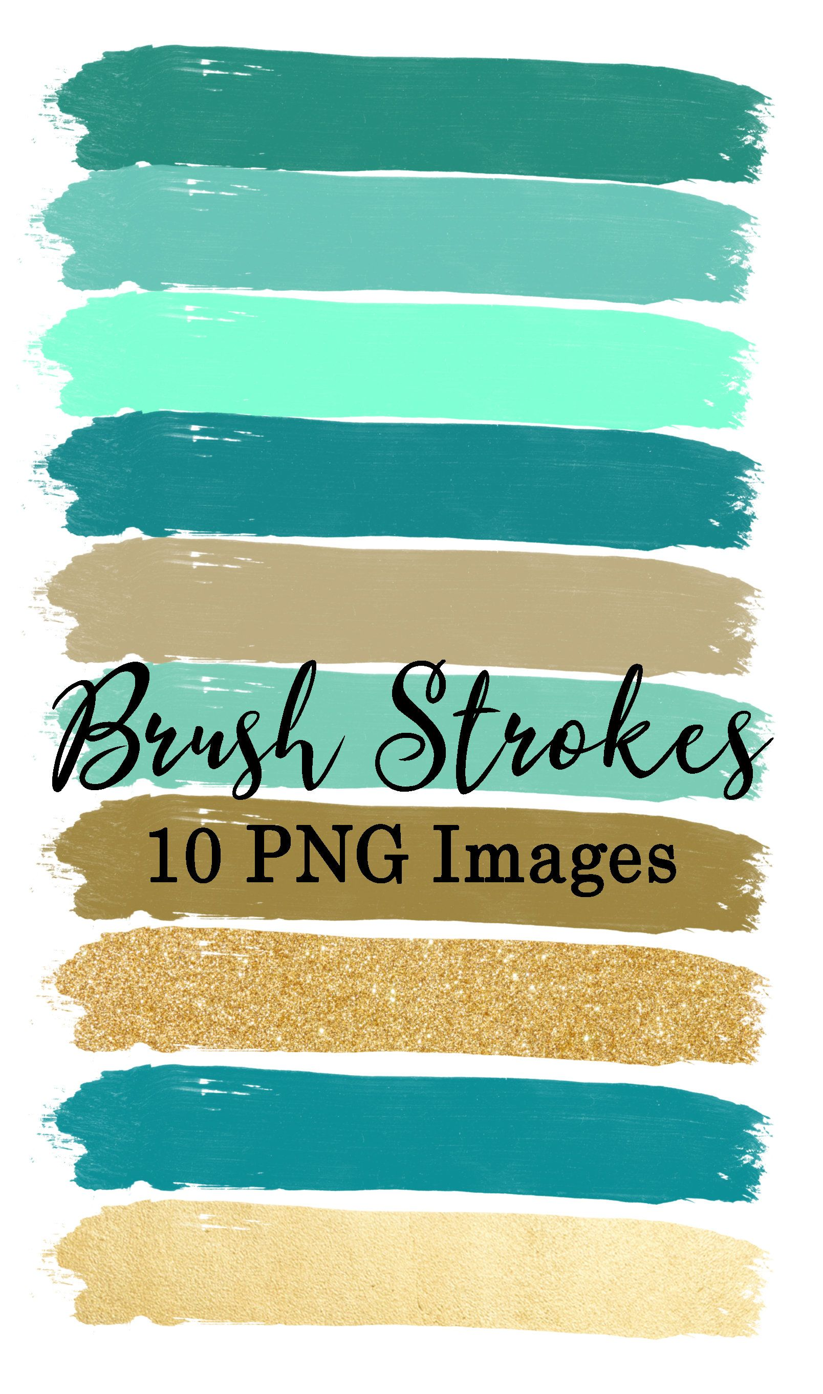 Brush Strokes Clip Art 15 Hand Painted Mint Green Gold Etsy In 2020 Brush Strokes Clip Art Green And Gold