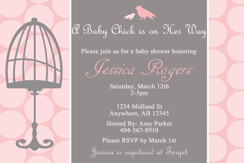 Baby Chick Custom Digital Baby Shower Invitation - Girl, Grey, Pink ...