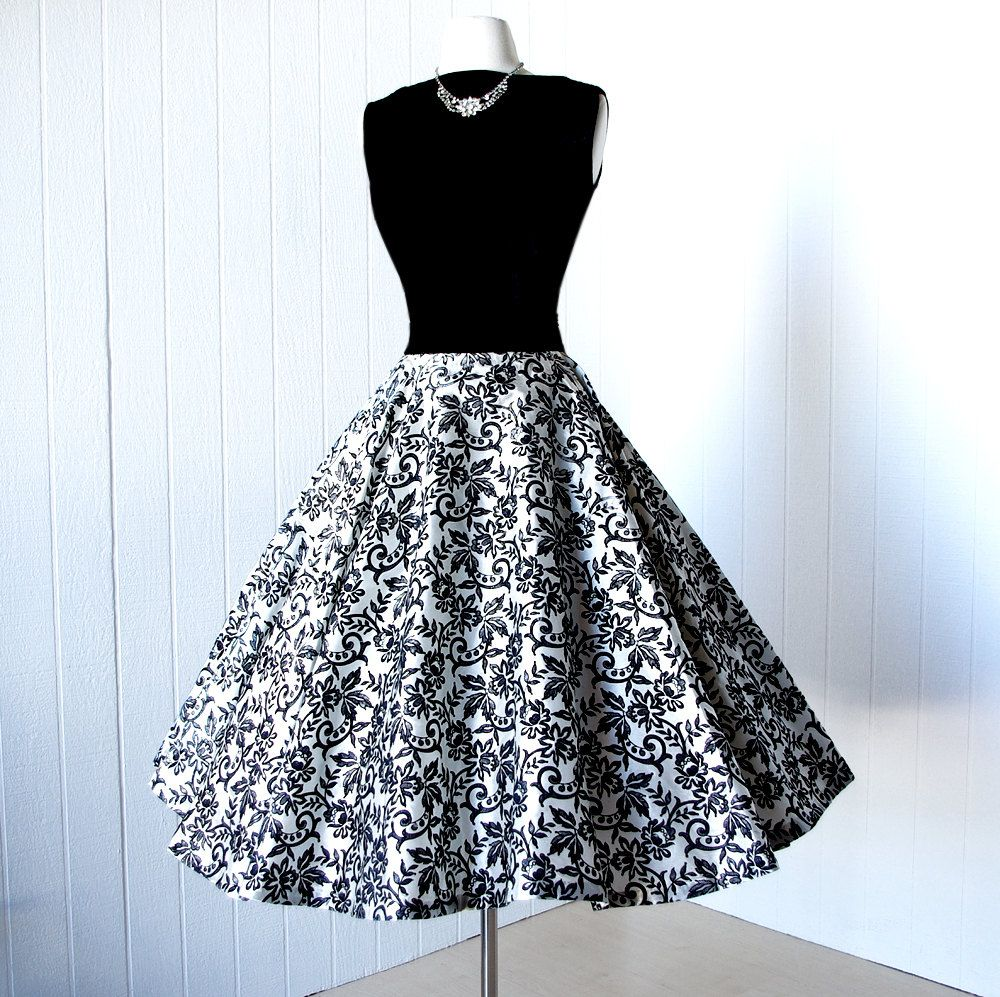 Alex Colman 1950's 2 piece velvet top and flocked full circle skirt cocktail party dress