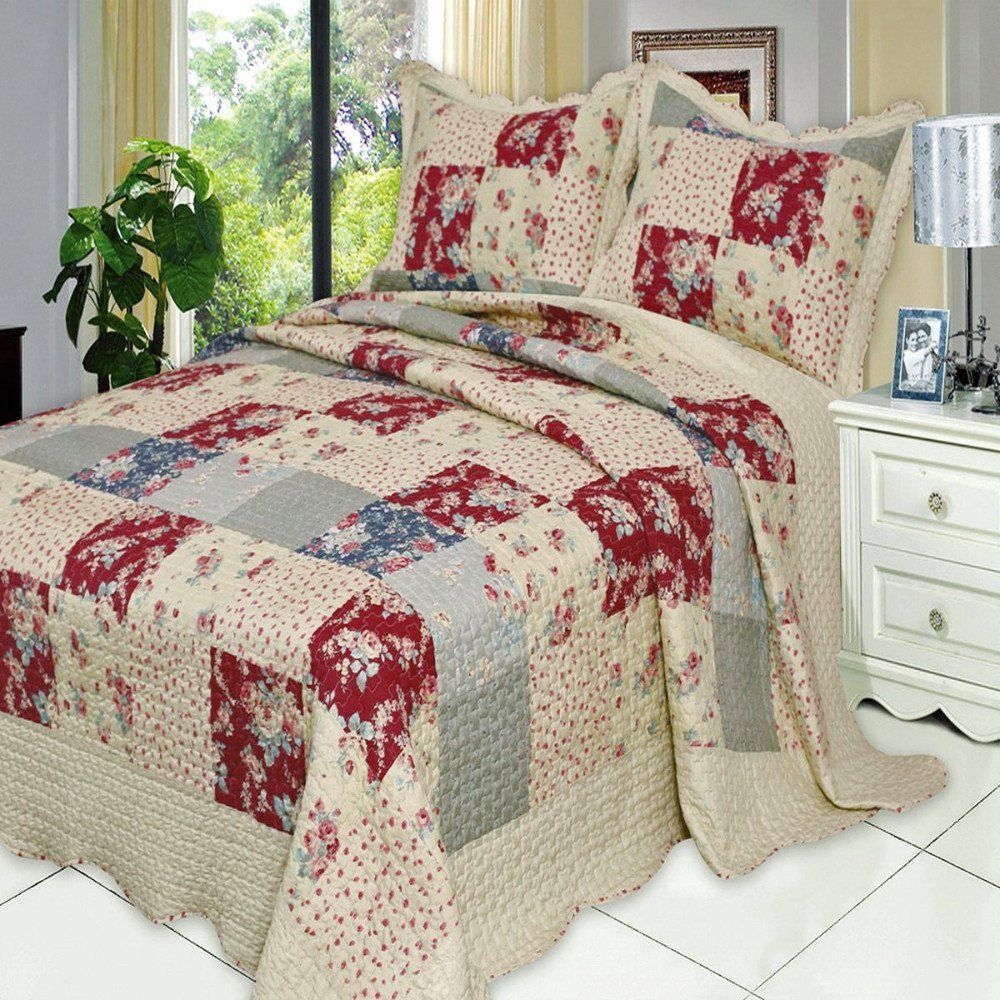 french country floral patchwork quilt coverlet set oversized