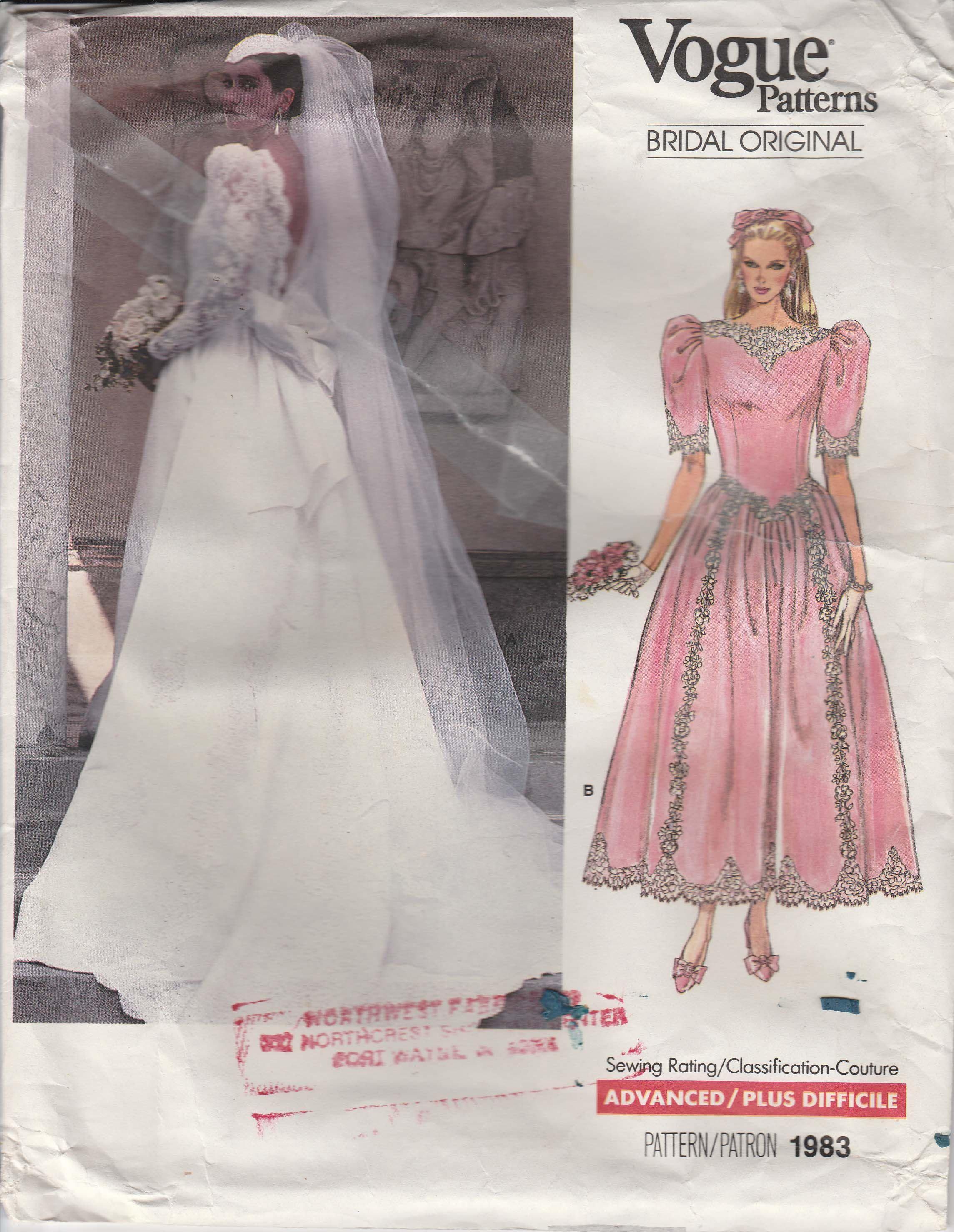 Wedding Dress Pattern 1980s Lace Backless Misses Size 8 1980s Vogue 1983 Bridal Origina Classic Wedding Dress Wedding Dresses Unique Wedding Dresses Strapless [ 2957 x 2289 Pixel ]