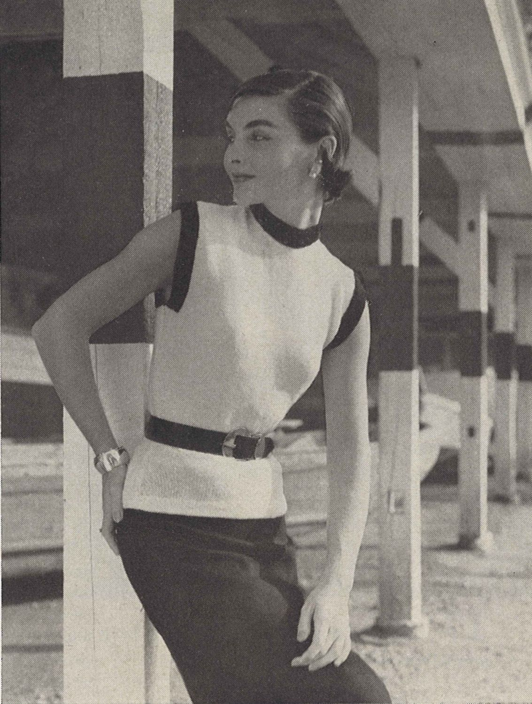 Black & White • 1950s Knitting Beach Sweater Top Blouse • 50s ...