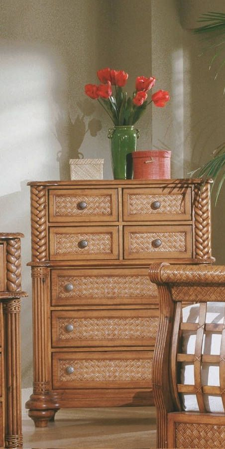 Palm Court Tropical Island Pine Wood 7 Drawer Chest