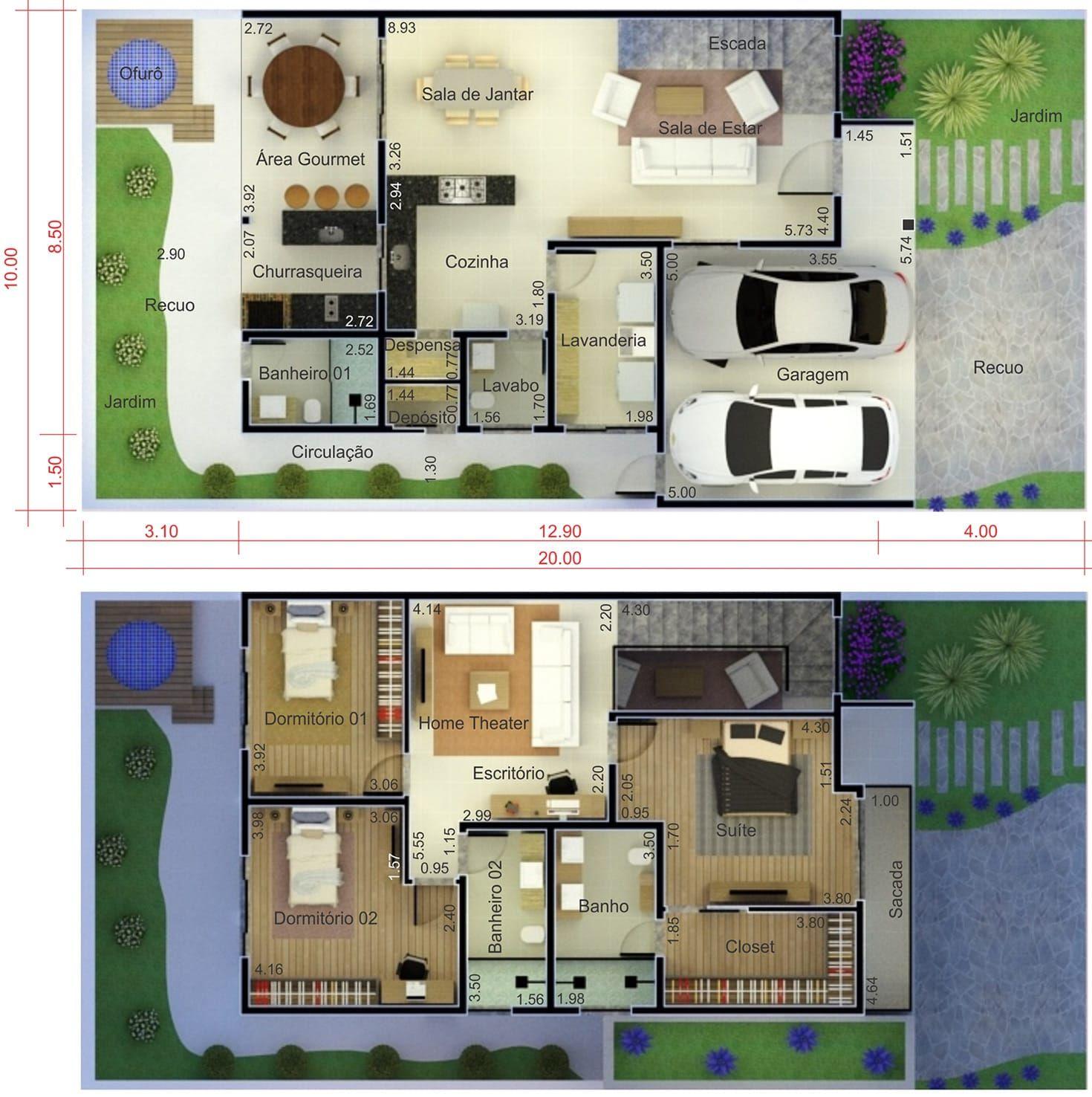 Sobrado com fachada moderna planta para terreno 10x20 for Plantas de casas tipo 3 modernas