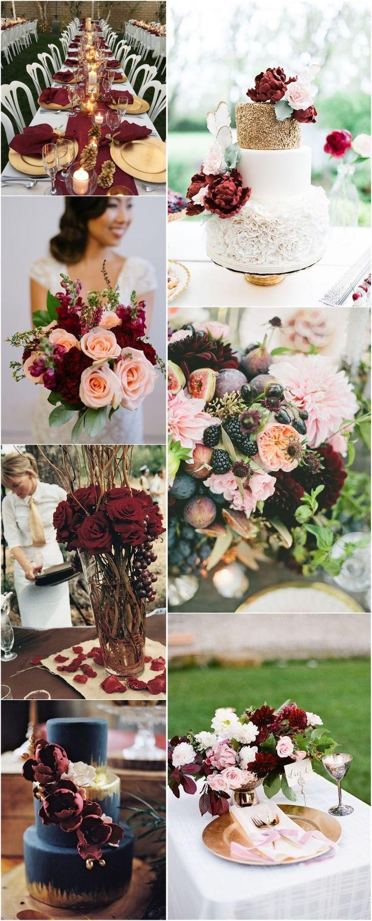 22 romantic burgundy and rose gold fall wedding ideas