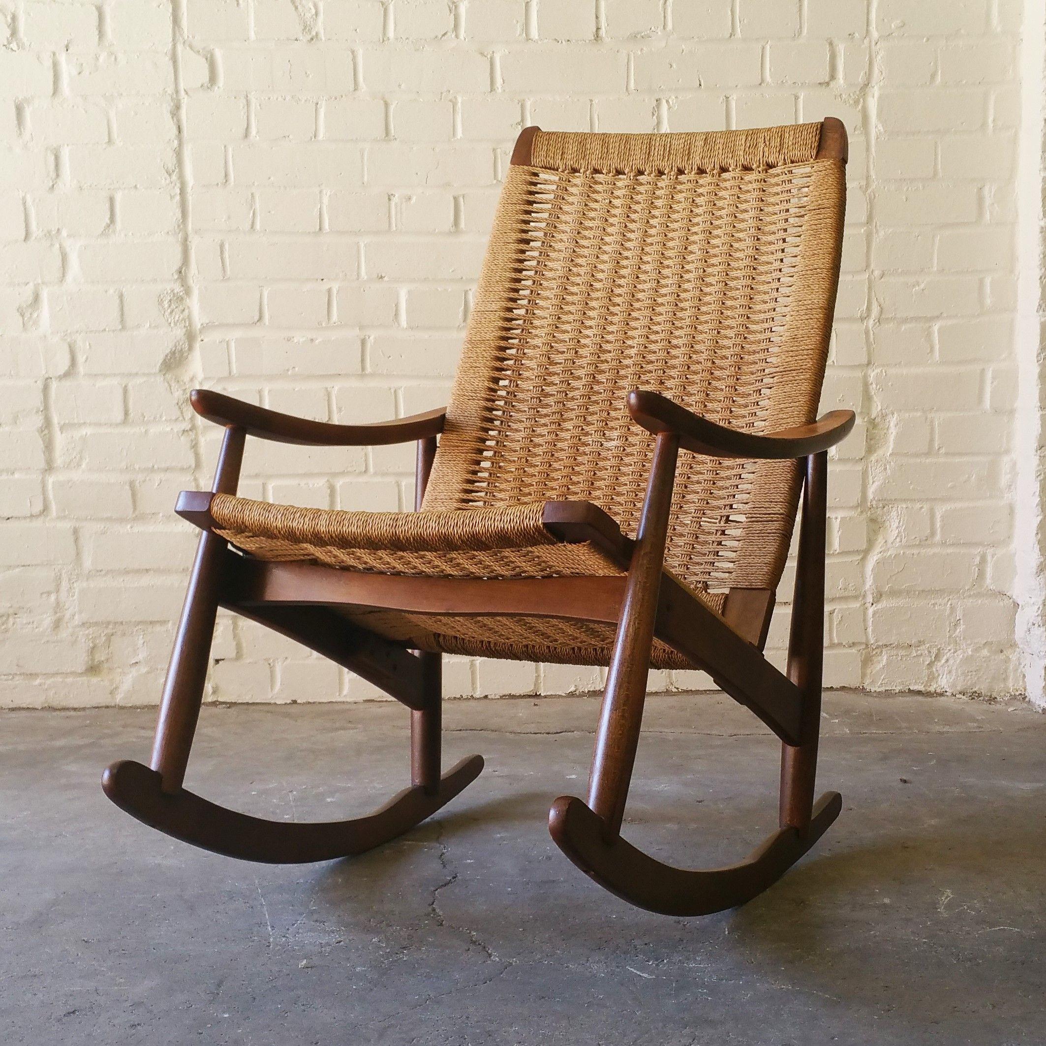 Vintage Hans J. Wegner Style Rope Rocking Chair Made In Yugoslaviau2026