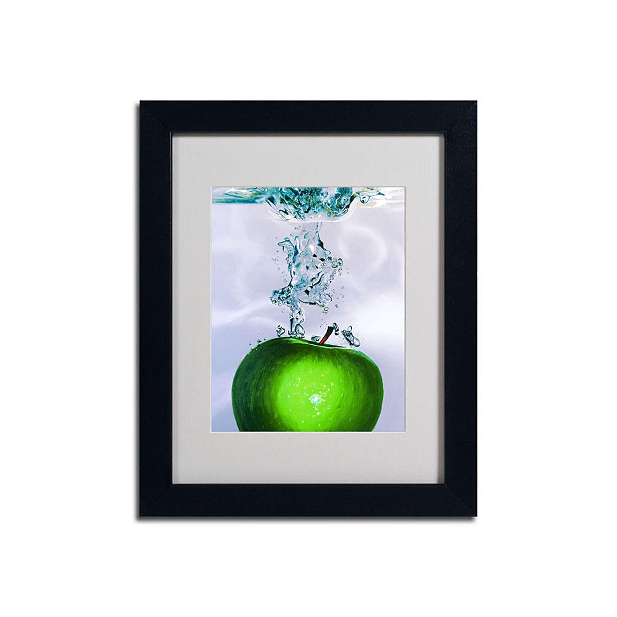 Trademark Fine Art 14\'\' x 11\'\' \'\'Apple Splash II\'\' Framed Canvas ...
