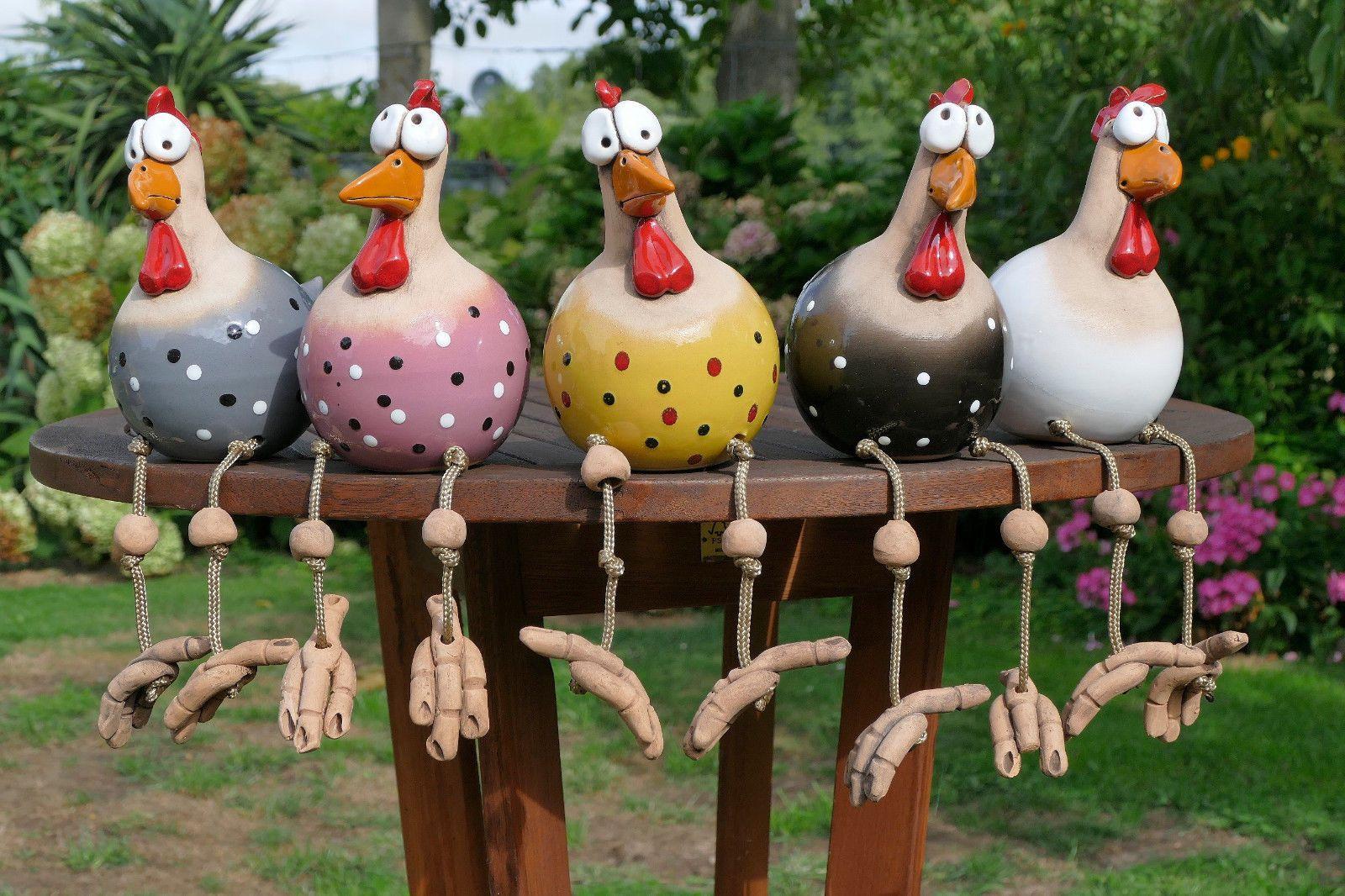 Keramik garten terrasse wetterfest vogel huhn for Gartenfiguren aus keramik