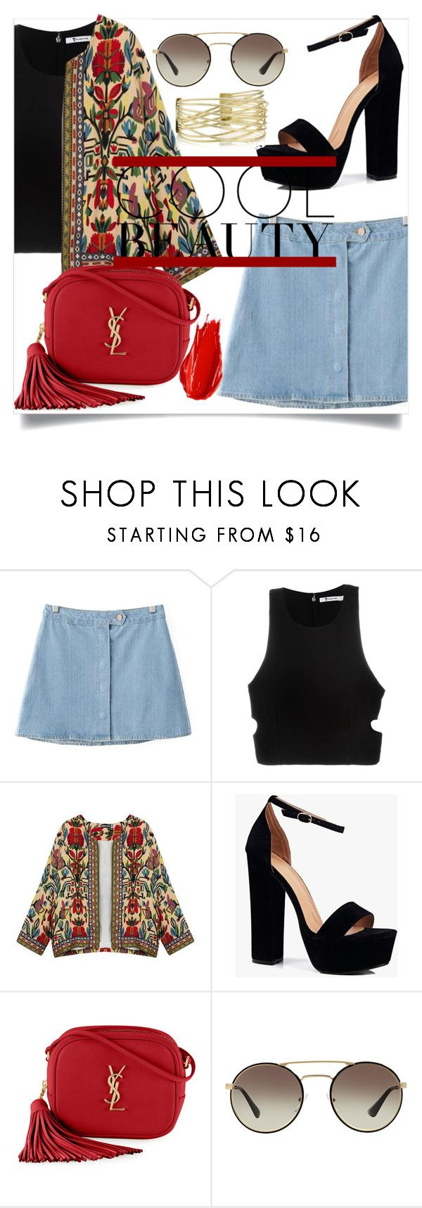 """Cool Beauty"" by eimy-marie ❤ liked on Polyvore featuring Chicnova Fashion, T By Alexander Wang, Boohoo, Yves Saint Laurent, Prada and Urban Decay"