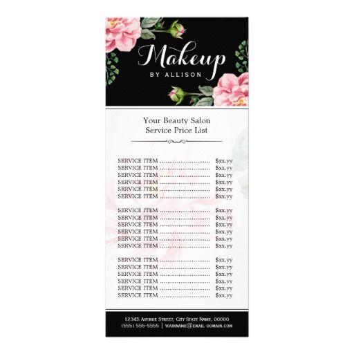 Fl Makeup Artist Beauty Salon Y Price List Personalized Rack Card