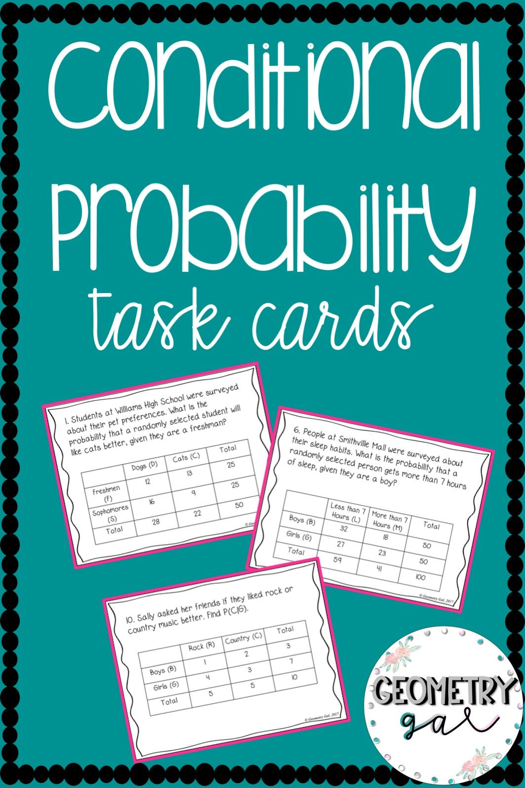 Conditional Probability Task Cards With Images Conditional