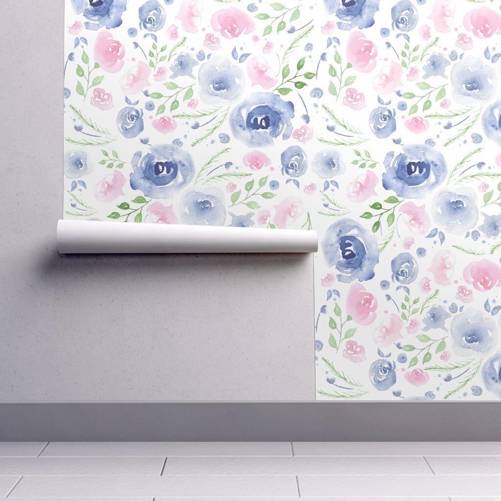 Watercolor Wallpaper Purple Floral By Jenflorentine