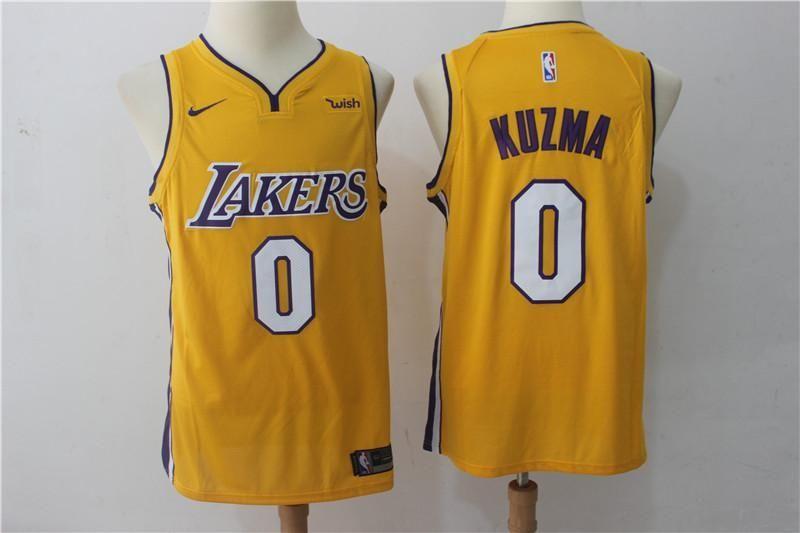 Men S 0 Kyle Kuzma Jersey Yellow Los Angeles Lakers Jersey Swingman Fanatics Kyle Kuzma Jersey Los Angeles Lakers