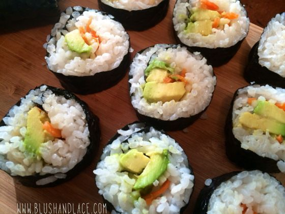 Veggie Sushi, can customize this sushi and add any veggies or protein, use it as a raw till 4 dinner.