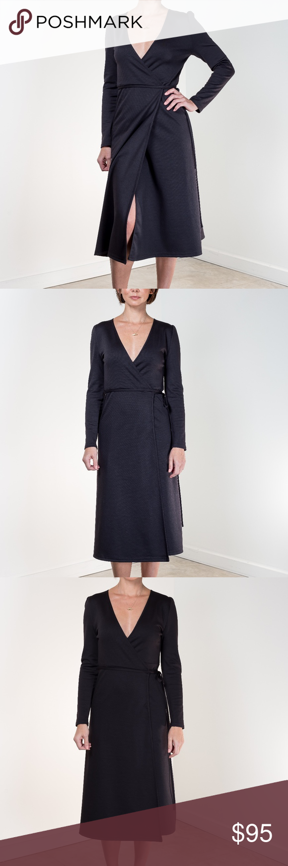 Emerson Fry Ballet Dress size L NWT Inspired by the iconic wrap dress of the 1970's, the Ballet dress from Emerson Fry is reimagined in a black ponte knit with slight puff shoulder and a below-the-knee-length. Versatile and effortless, this dress doesn't wrinkle and holds its shape. Pair with a modern boot or a dainty slide.  Size Large measures: Center Back Length 45, Bust 36, Waist 34, Hip 42  Materials: double knit ponte: rayon/poly blend w/ 2% stretch Emerson Fry Dresses Long Sleeve #emersonfry