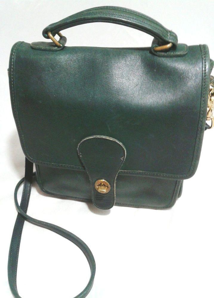 f3a364c888fd Coach Vintage Willis Station Bag 5130 Dark Green Leather Crossbody  Messenger  Coach  MessengerCrossBody