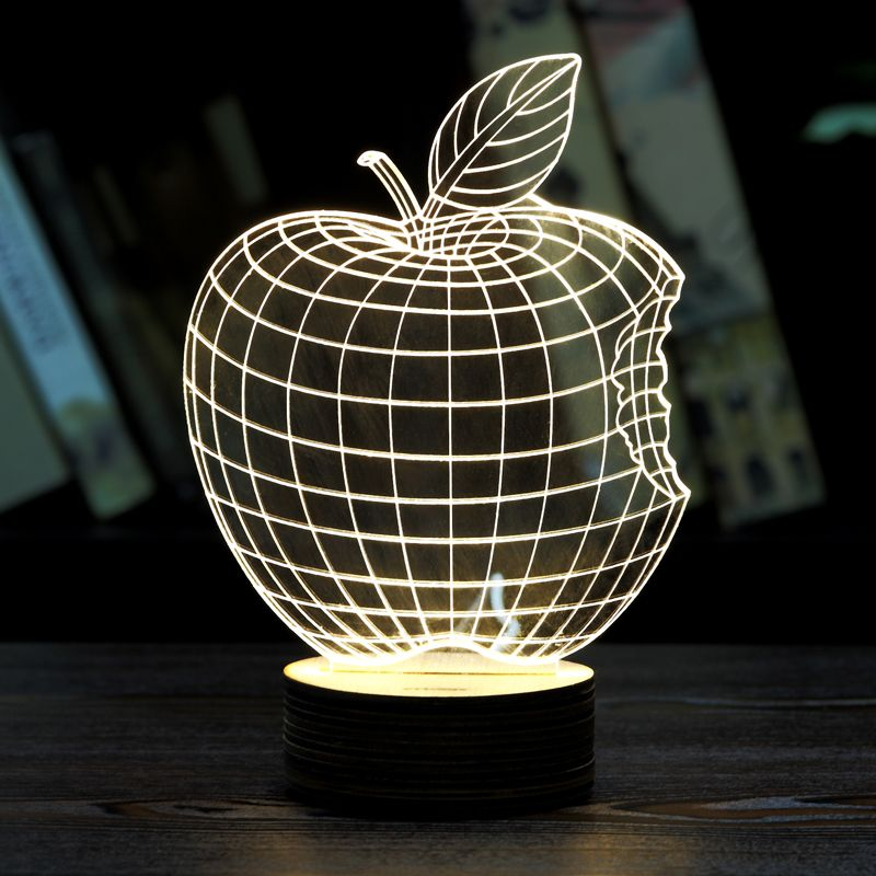 Moza home decor 1piece 3d apple night lamp acrylic wood for Night light design