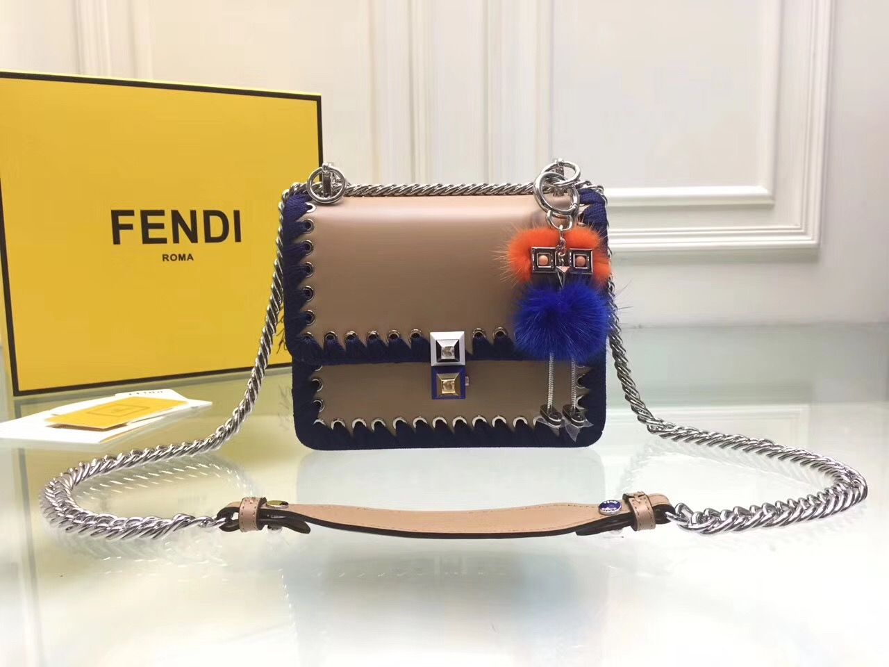 80e25ee5bb Fendi Kan I chain flap square bag original leather version