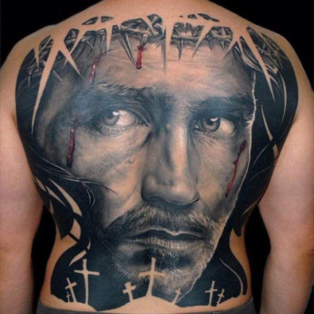 full back jesus realistic tattoo tats pinterest tattoo craziest tattoos and tatting. Black Bedroom Furniture Sets. Home Design Ideas