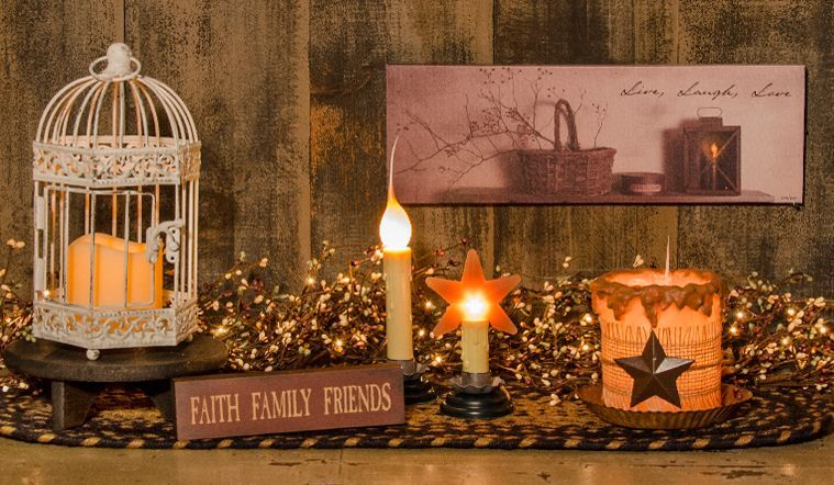 KP Creek Gifts - Platinum Pip Garland w/Stars | Kp creek gifts, Country  candle, Primitive decorating country