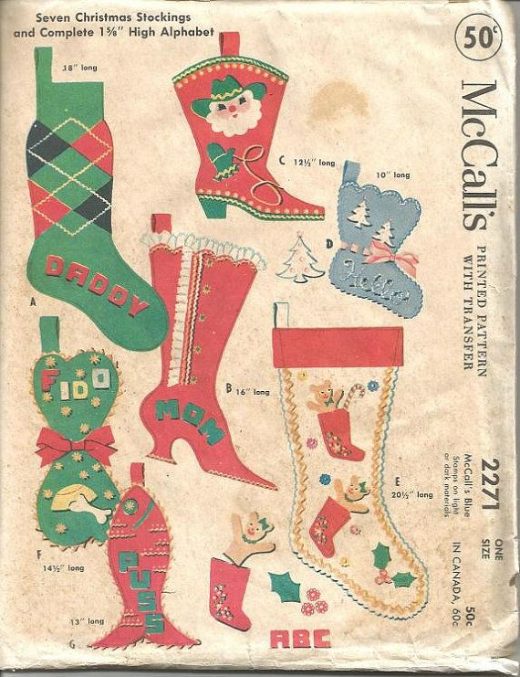 1950s Christmas Stockings for the Family Pets Cowboy by kinseysue