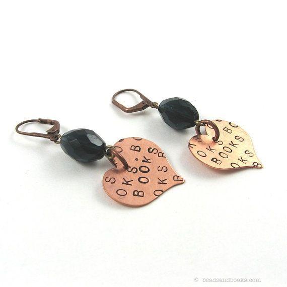 earring Heart Earrings Love of Books (Librarian Jewelry d7c33ead37