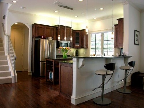 Small Kitchen Design Ideas Pictures Remodel And Decor Peninsula Kitchen Design Wood Floor Kitchen Kitchen Design Small