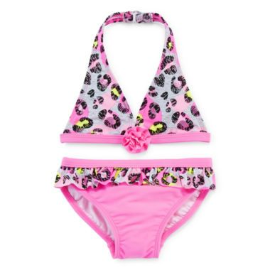 Angel Beach Pink Leopard Print 2-pc. Swimsuit – Girls 4-6x  found at @JCPenney