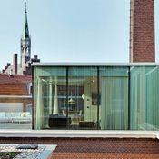 Urban glass retreat.