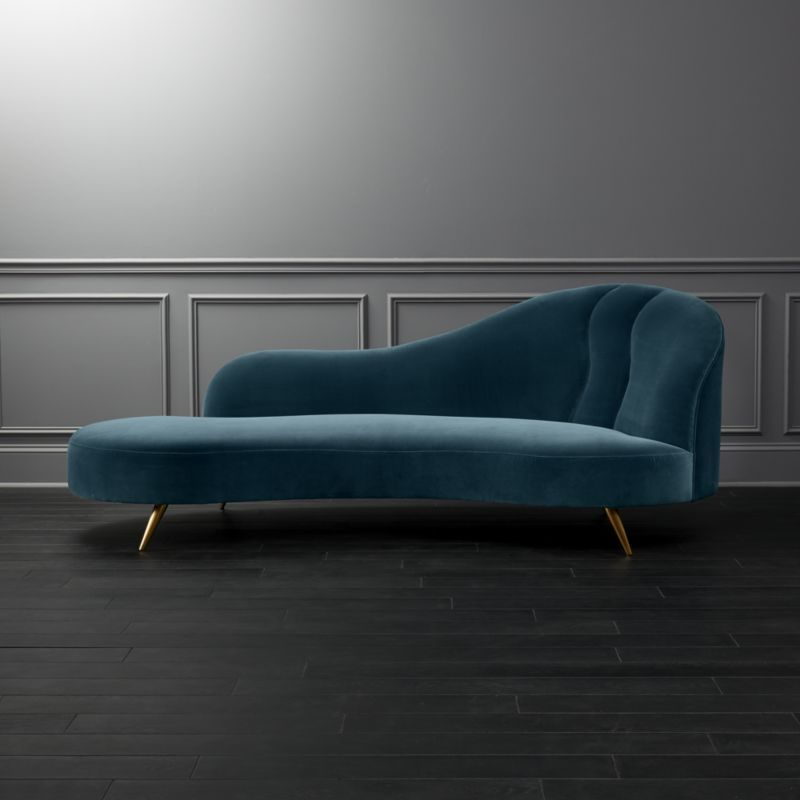 Shop Copine Peacock Velvet Curved Chaise Lounge Designer Julia