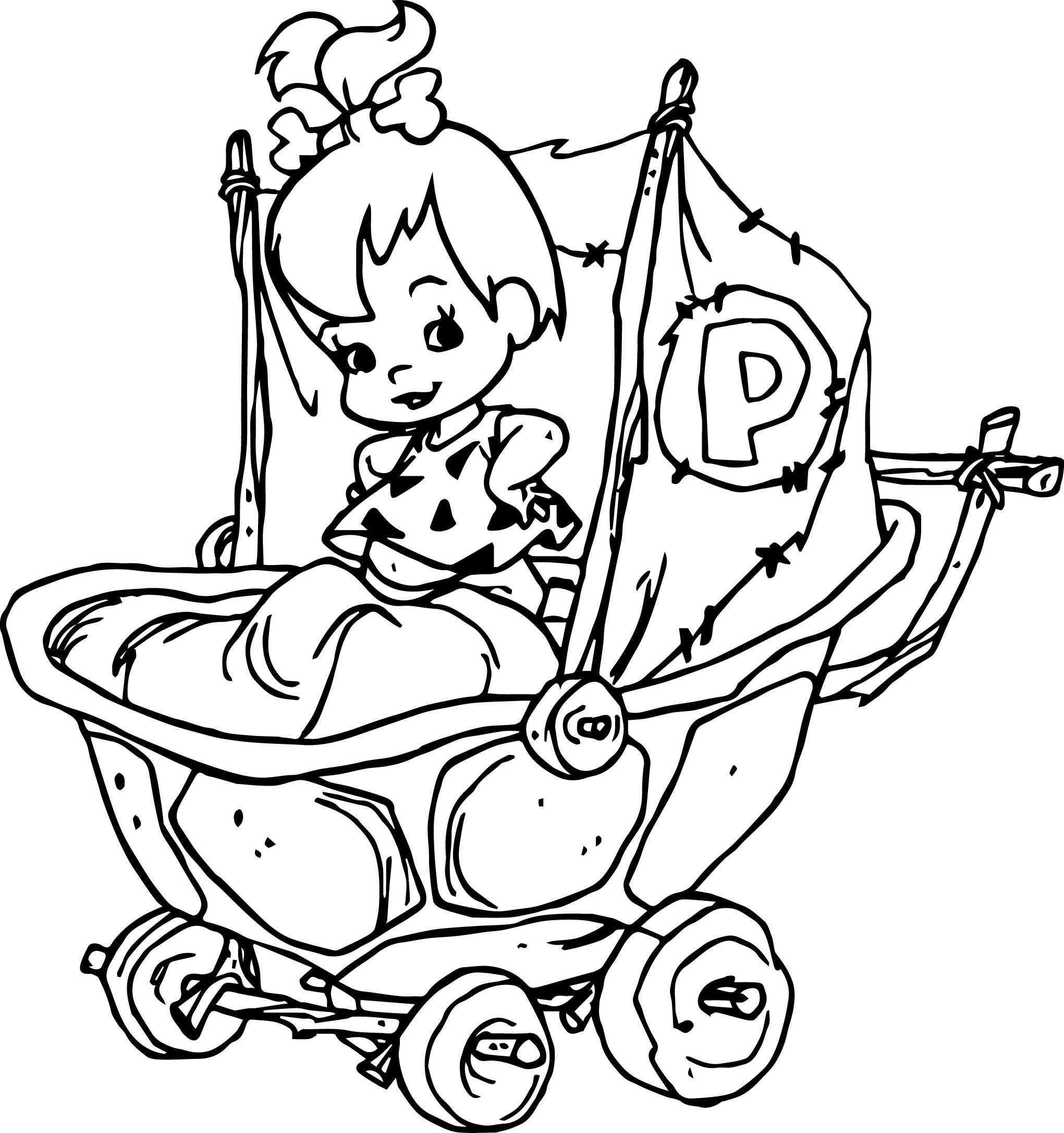 the flintstones baby pebbles flintstone coloring pages