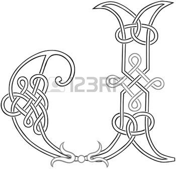 A Celtic Knot-work Capital Letter J Stylized Outline photo