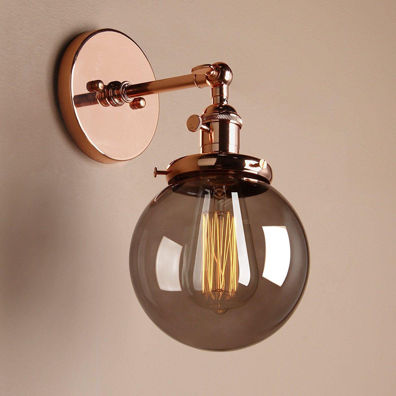 Pathson Antik Deko Design Kleine Kugel Grau Glas Innen Wandbeleuchtung  Wandleuchten Loft Wandlampen Wandbeleuchtung (Kupfer Farbe )