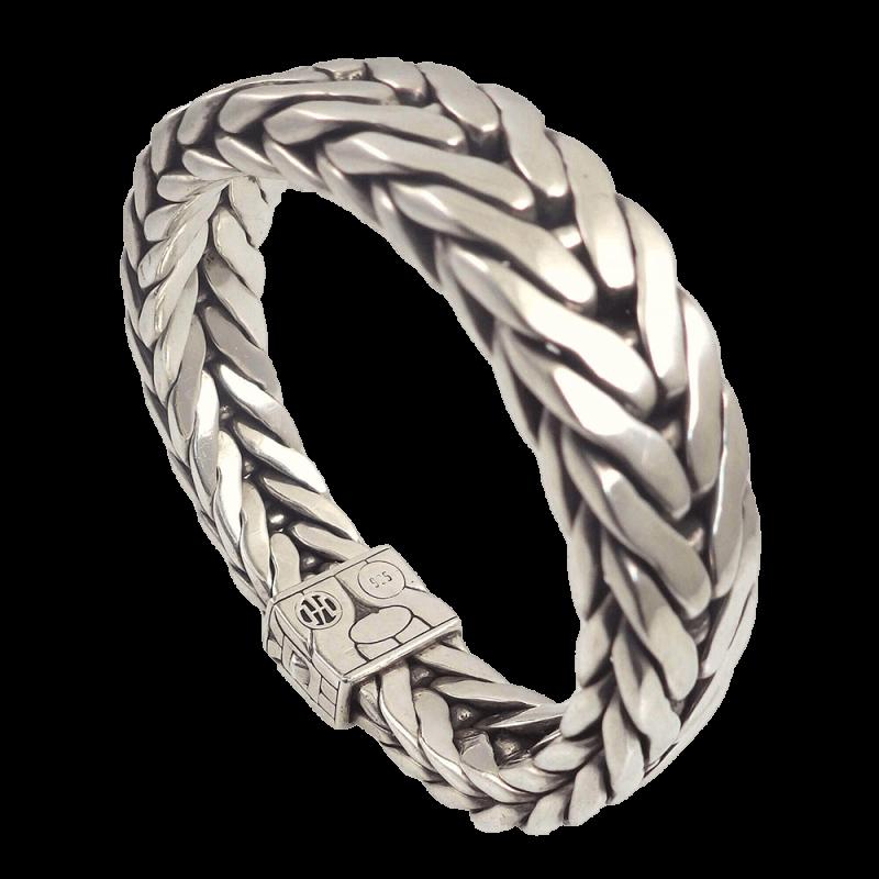 John Hardy Sterling Silver Woven Chain 16mm Men S Bracelet Pre Owned Sjewelry
