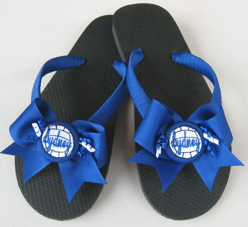 Personalized Black /& Gold Softball flip flop bows Choose colors swimming gift shoe slides varsity high school jv middle school team gift